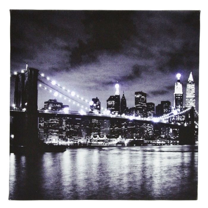 Tableau toile lumineuse 12 led deco new york vu achat - Tableau new york led ...