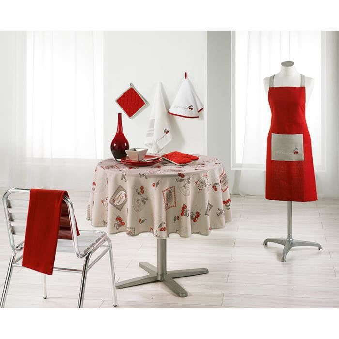 nappe ronde 180 cm cerisettes lin achat vente nappe de table cdiscount. Black Bedroom Furniture Sets. Home Design Ideas