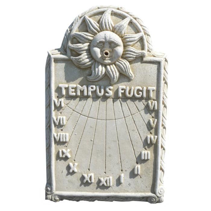 Cadran solaire en pierre blanche reconstitu e 39x4x76cm for Pierre blanche decoration jardin