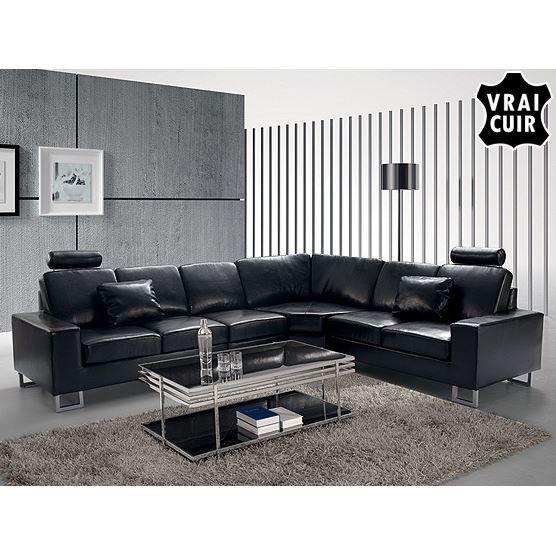 Canap d 39 angle canap en cuir noir sofa stockholm achat vente canap sofa divan cuir - Zitbank cabriolet ...