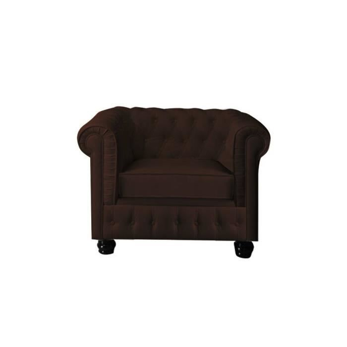 fauteuil design chesterfield chocolat cuir pvc achat vente fauteuil cuir pvc synth tique. Black Bedroom Furniture Sets. Home Design Ideas