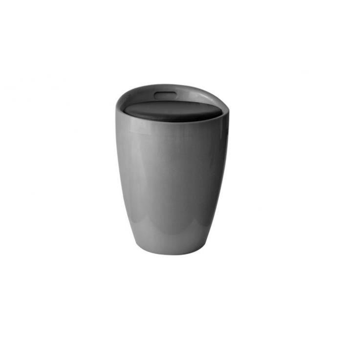 pouf coffre de rangement mambo argent et noir achat. Black Bedroom Furniture Sets. Home Design Ideas