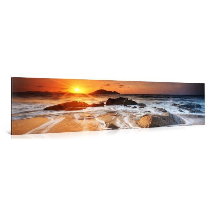 Tableau sur toile plage soleil 120x30cm achat vente for Tableau impression sur toile