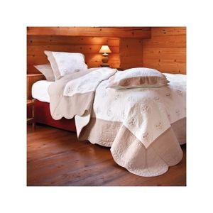 boutis couvre lit en lin achat vente boutis couvre lit en lin pas cher cdiscount. Black Bedroom Furniture Sets. Home Design Ideas