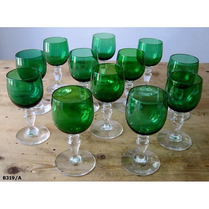 12 verres pied liqueur anciens en verre color achat vente verre vin cdiscount. Black Bedroom Furniture Sets. Home Design Ideas