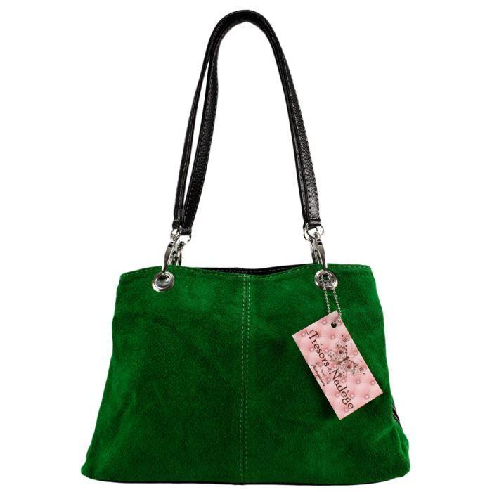 sac main croute de cuir olga vert achat vente sac main croute de cuir cdiscount. Black Bedroom Furniture Sets. Home Design Ideas