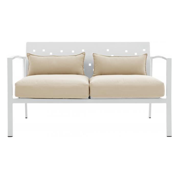 canap aluminium 2 places blanc avec coussins beiges. Black Bedroom Furniture Sets. Home Design Ideas