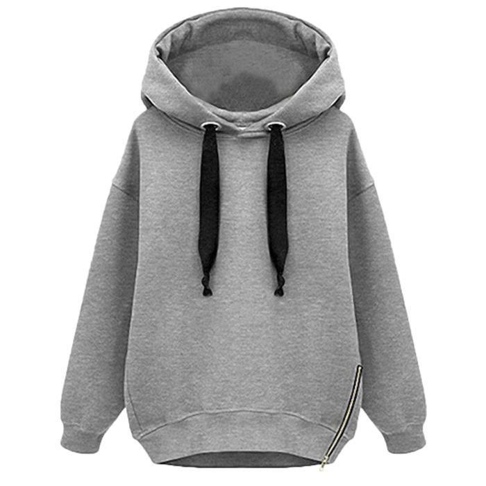 femme sweats a capuche epais pull over gris gris achat vente sweatshirt cdiscount. Black Bedroom Furniture Sets. Home Design Ideas