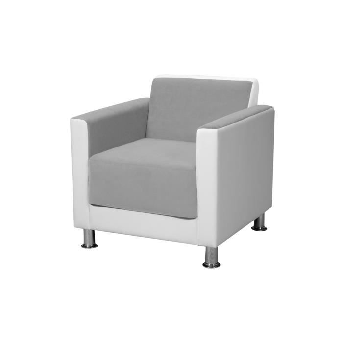 fauteuil gris clair blanc juan achat vente fauteuil. Black Bedroom Furniture Sets. Home Design Ideas