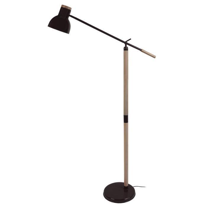 tosel lampadaire liseuse articul e bois massif et m tal olsen e27 diam tre 80 cm noir achat. Black Bedroom Furniture Sets. Home Design Ideas