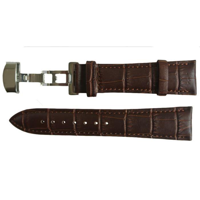 bracelet montre cuir marron fermoir papillon 20mm marron. Black Bedroom Furniture Sets. Home Design Ideas