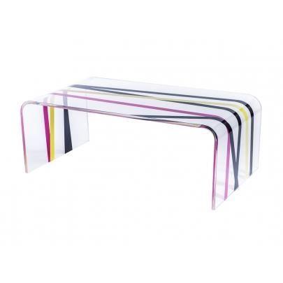 Table basse leslie acrylique motif rubans c achat vente table basse table basse - Table basse acrylique ...