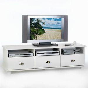 Meuble tv blanc pin achat vente meuble tv blanc pin for Meuble tv en pin