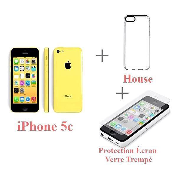 iphone 5c 16go 4g jaune house protection cran verre. Black Bedroom Furniture Sets. Home Design Ideas