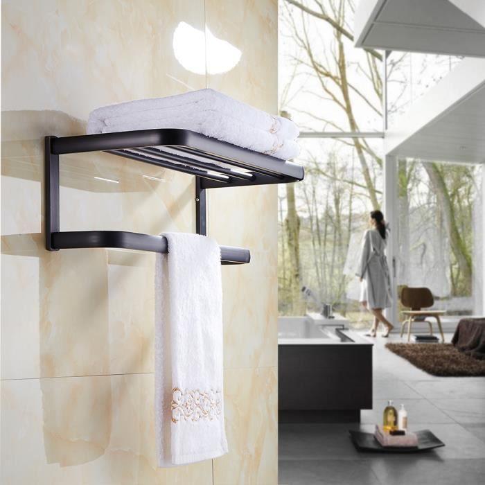 double etag re porte serviette mural crochet serviette pour salle bain en laiton noir achat. Black Bedroom Furniture Sets. Home Design Ideas