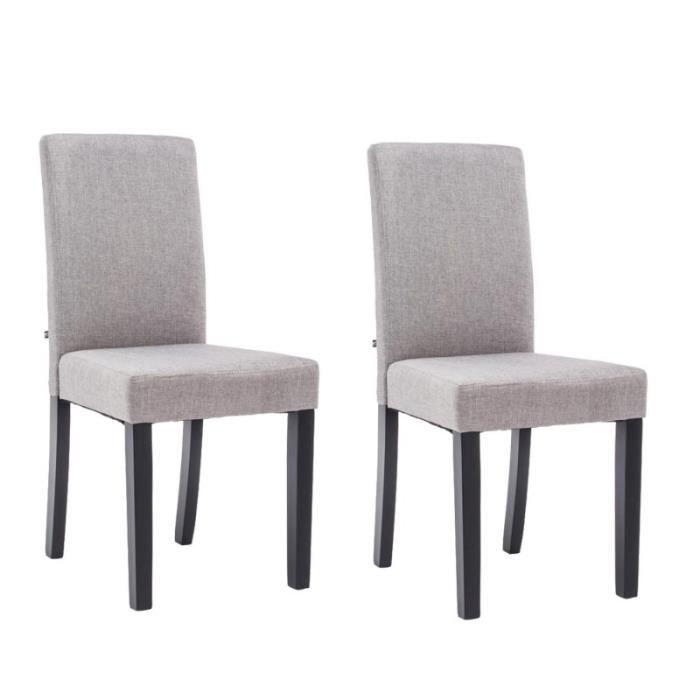 Lot de 2 chaises de salle manger en tissu gris clair for Chaise salle a manger tissu gris