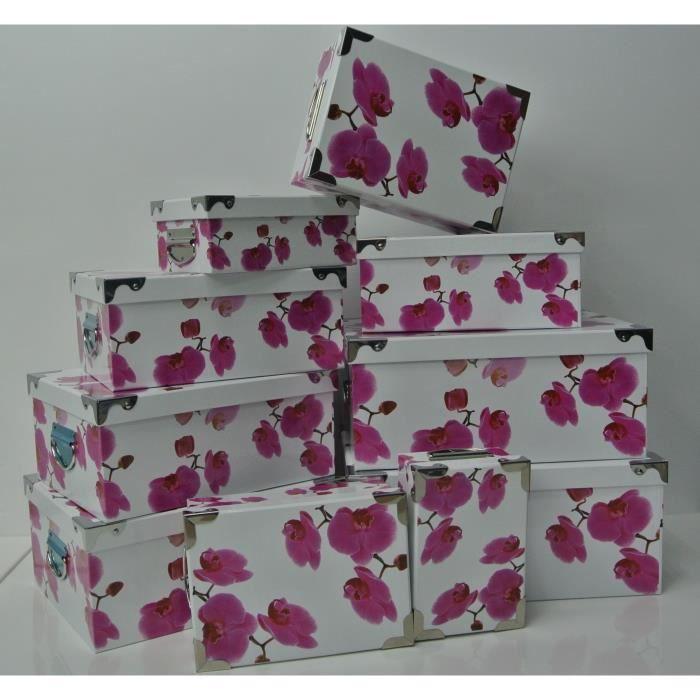 lot de 5 grandes boites de rangement orchid e achat vente boite de rangement cdiscount. Black Bedroom Furniture Sets. Home Design Ideas