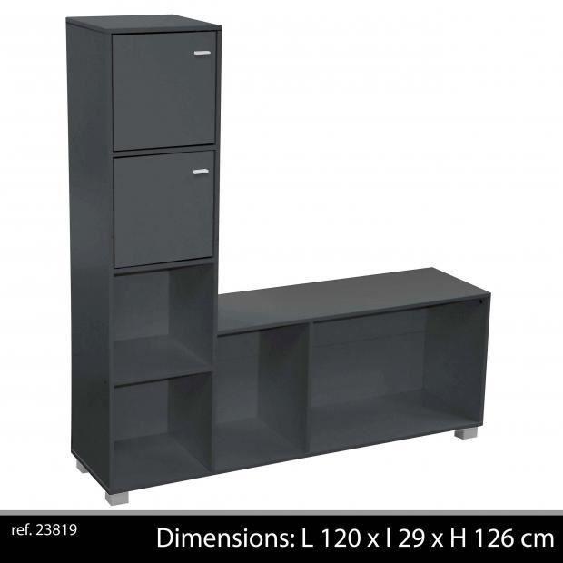 meuble tv noir 4 niches 2 placards avec poign achat vente meuble tv meuble tv noir 4. Black Bedroom Furniture Sets. Home Design Ideas