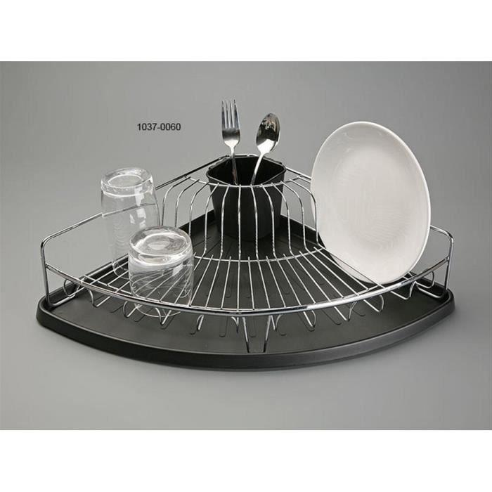 Egouttoir à vaisselle dangle plateau noir panier inox VERSA - Achat ...