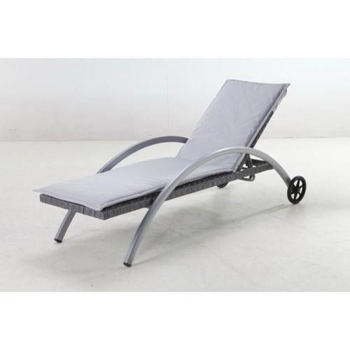 Transat amnesia gris hesperide achat vente chaise for Chaise longue jardin hesperide
