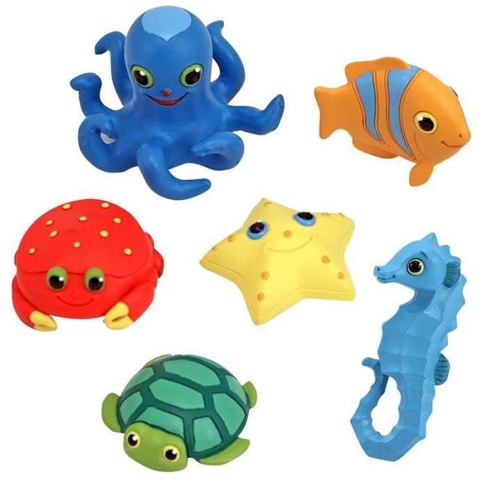 jouet pour le bain set de 6 animaux marins jeu achat vente jouet de bain cdiscount. Black Bedroom Furniture Sets. Home Design Ideas
