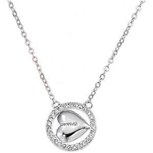 Collier Morgan pour femme en acier , Pendentif cercle orné doxydes de zirconium au cœur duquel se trouve un cœur portant le nom de la marque Morgan Genre