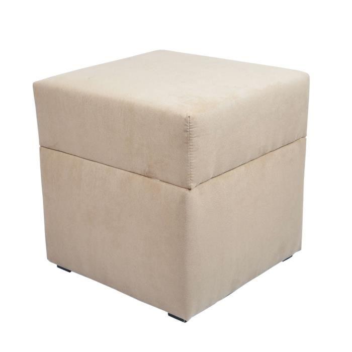 Pouf cube coffre de rangement alicante beige achat vente pouf poire c - Cube metallique rangement ...