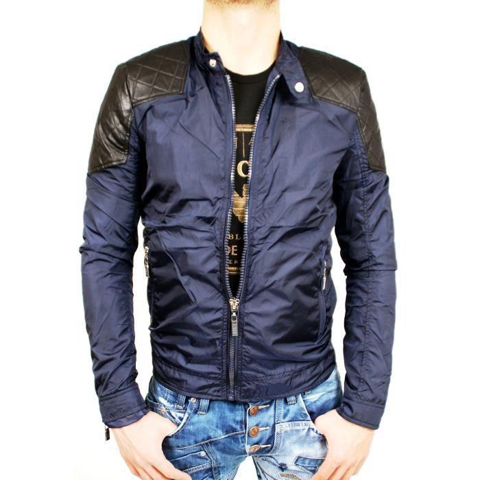 veste legere bi matiere simili cuir homme neuf toute taille bleu achat vente veste cdiscount. Black Bedroom Furniture Sets. Home Design Ideas