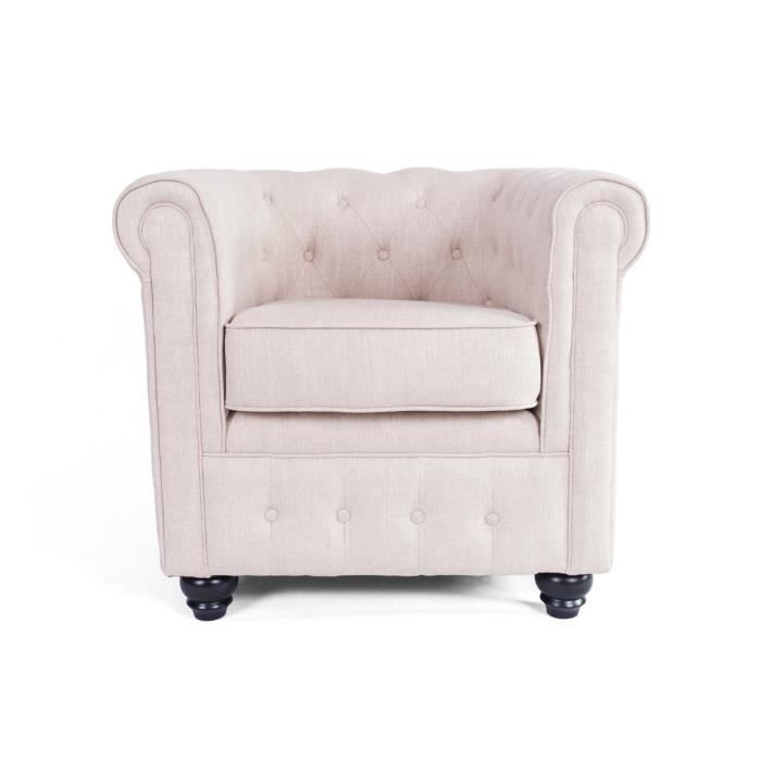 fauteuil chesterfield en tissu couleur cru 82x achat. Black Bedroom Furniture Sets. Home Design Ideas