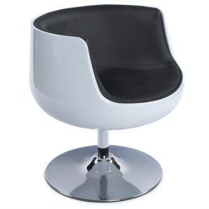 FAUTEUIL Fauteuil / chaise design rétro blanc et noir Brady