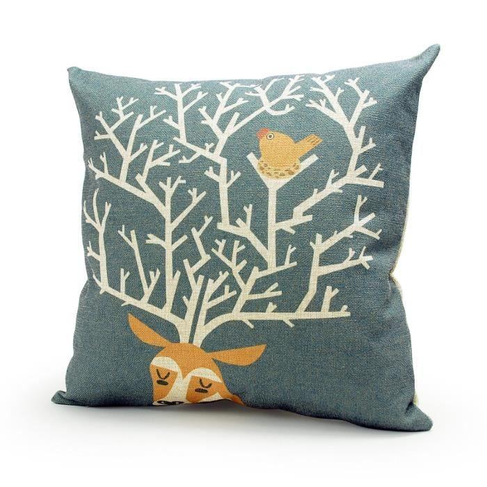 dreamshop 45x45cm taie d 39 oreiller couverture coussin en lin coton pour canap cerfet bird. Black Bedroom Furniture Sets. Home Design Ideas