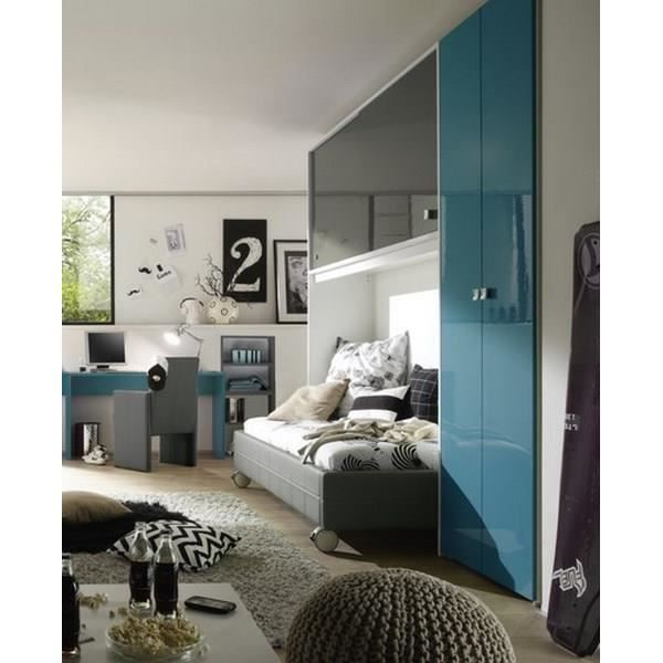 chambre moderne gris bleu campus meuble house achat vente chambre compl te chambre. Black Bedroom Furniture Sets. Home Design Ideas