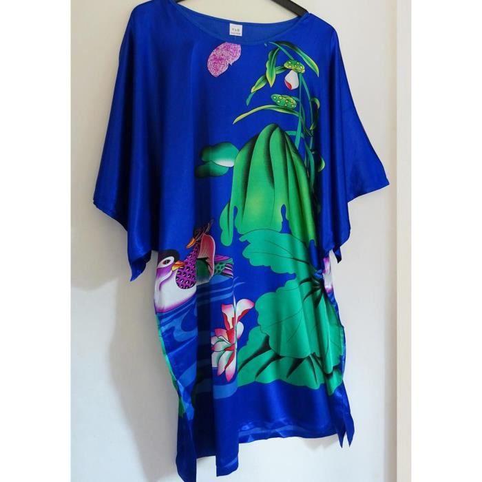 robe d 39 h tesse d 39 int rieur tunique satin e bleu bleu achat vente tunique 2009949023192. Black Bedroom Furniture Sets. Home Design Ideas