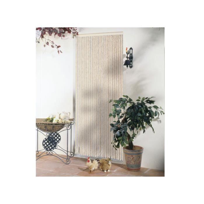 Rideau de porte chenille beige florence 120 x achat vente moustiquaire ouverture - Rideau de porte chenille ...