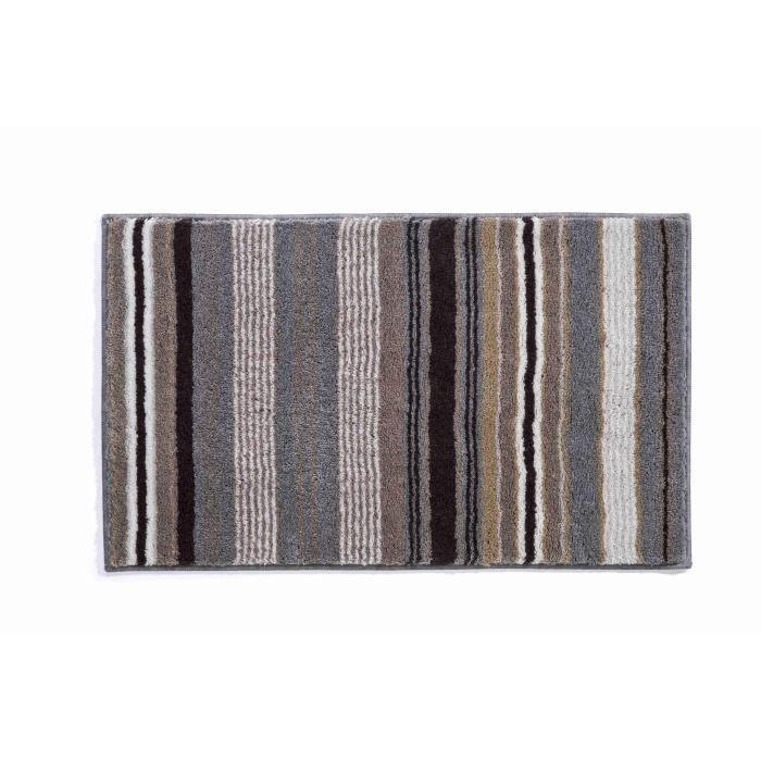 Tapis bain tapis de bain 60 x 60 marron gris acrylique - Contour de bain acrylique ...