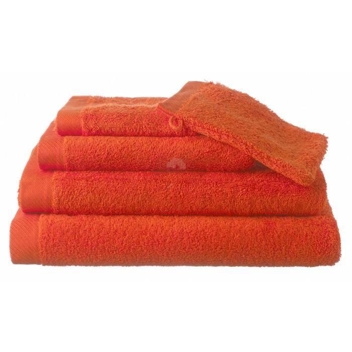 serviette ponge 50x100 alba orange achat vente serviettes de bain cdiscount. Black Bedroom Furniture Sets. Home Design Ideas