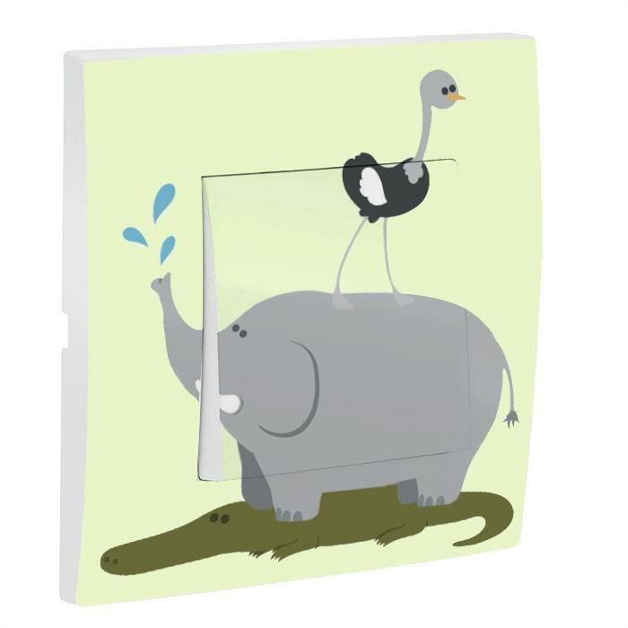 Interrupteur decore savane elephant achat vente for Interrupteur decore