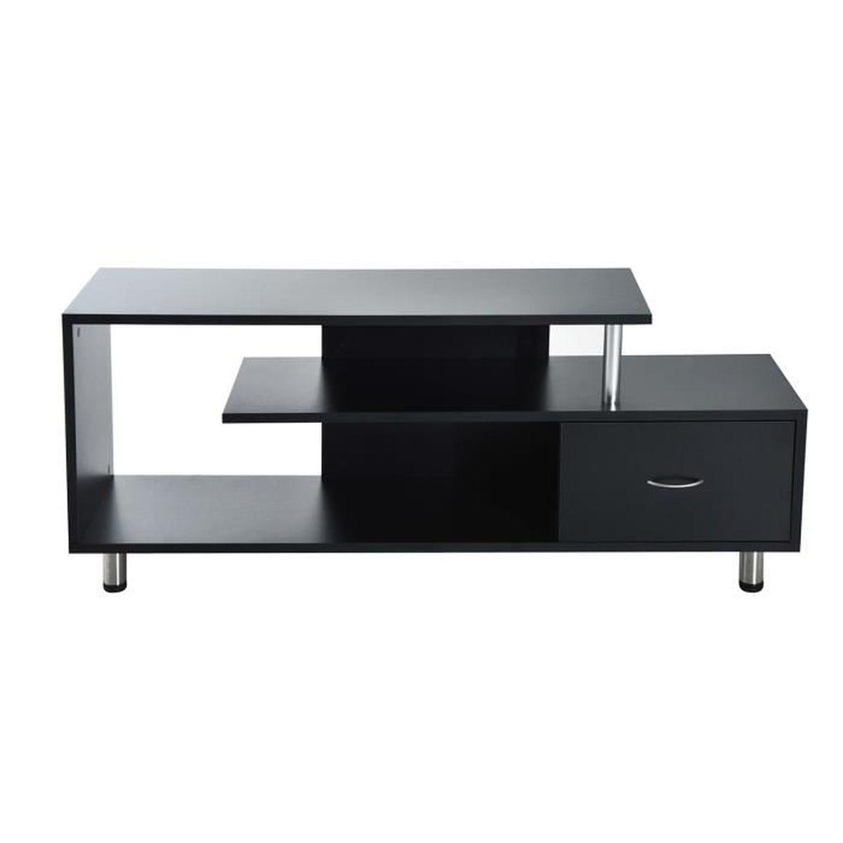 Meuble TV table Design Elégant Haute Brillance avec Tiroir ...
