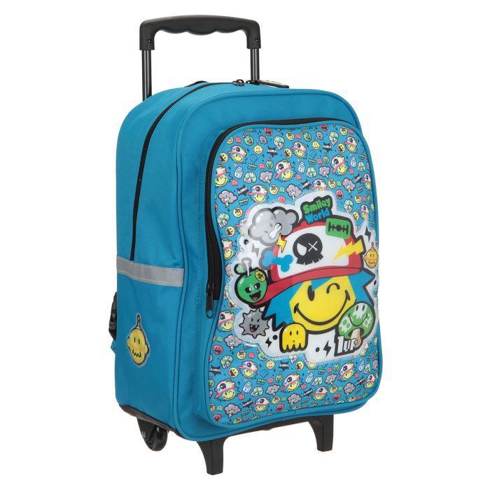 smiley world sac dos borne trolley 2 roues 43 cm bleu enfant gar on bleu achat vente sac. Black Bedroom Furniture Sets. Home Design Ideas