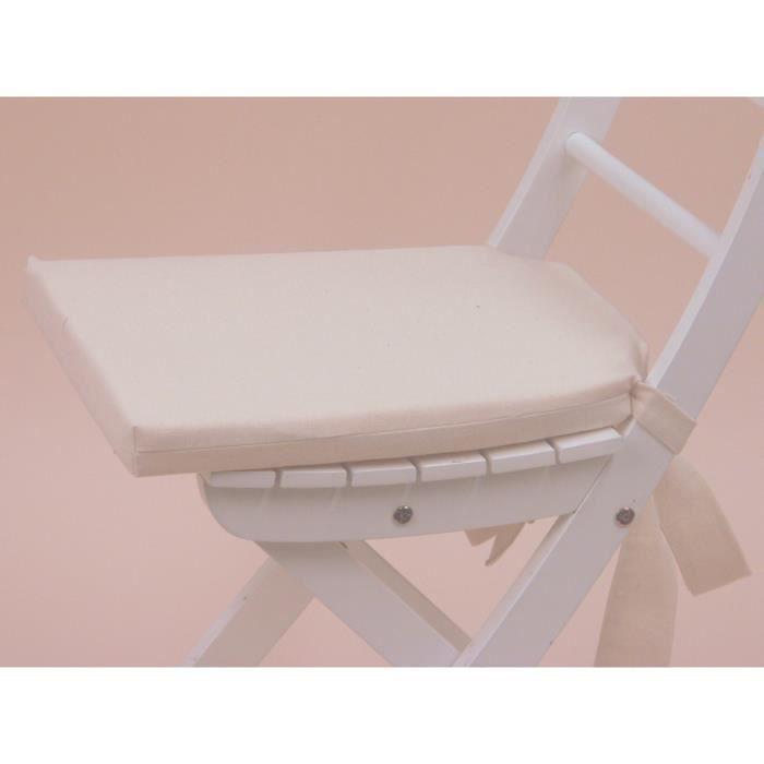 Galette de chaise 15 java ecru achat vente coussin de - Galette de chaise blanc ...