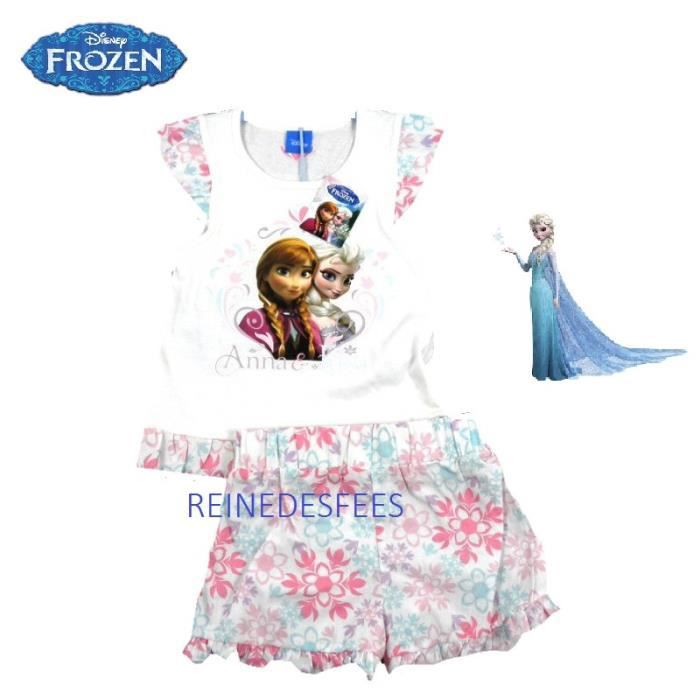 frozen ensemble v tement filles 4 5 ans la reine des neigesia short et tee shirt anna et elsa. Black Bedroom Furniture Sets. Home Design Ideas