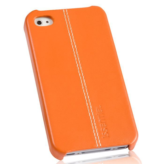 coque pour iphone 4 4s cuir orange collection achat. Black Bedroom Furniture Sets. Home Design Ideas