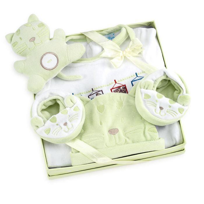 coffret cadeau naissance chat 12 mois vert achat vente coffret cadeau textile 3700496501193. Black Bedroom Furniture Sets. Home Design Ideas