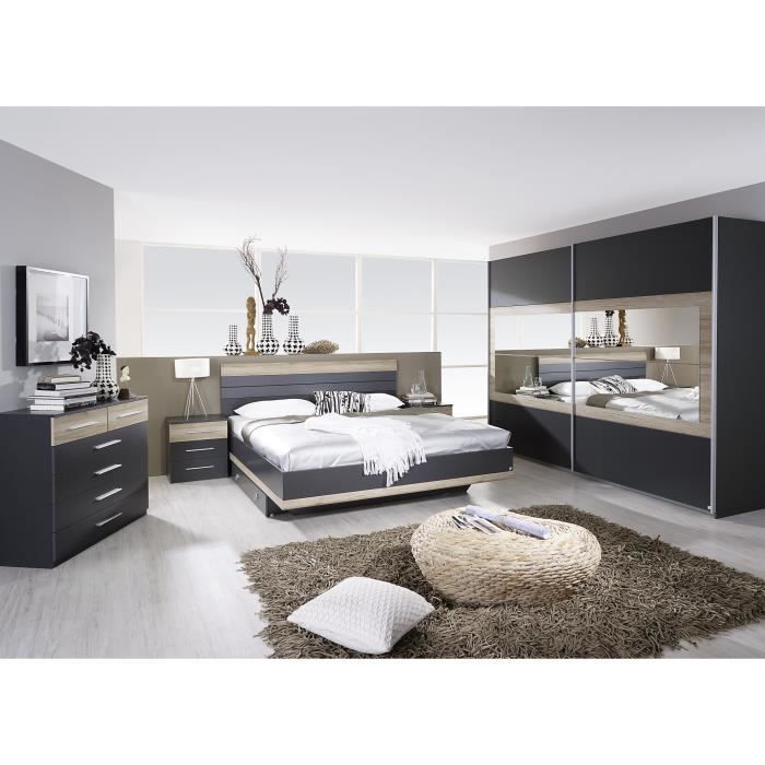 Chambre adulte compl te contemporaine grise ch ne clair djaneiro ii 180 x 200 - Achat chambre complete adulte ...
