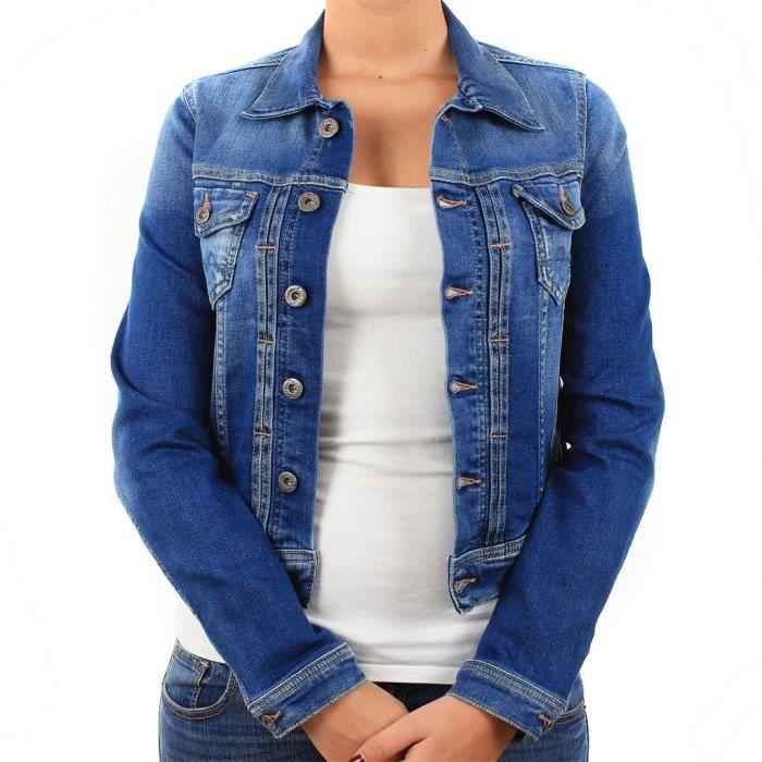 blouson en jeans pepe jeans femme bleu achat vente blouson soldes d t cdiscount. Black Bedroom Furniture Sets. Home Design Ideas