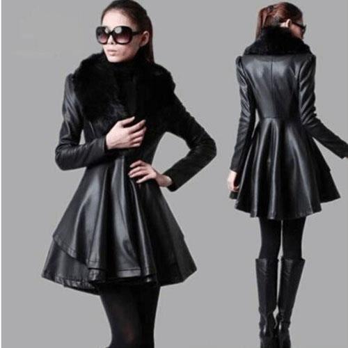 femme hver manteau en cuir col fourrure robe veste parka. Black Bedroom Furniture Sets. Home Design Ideas