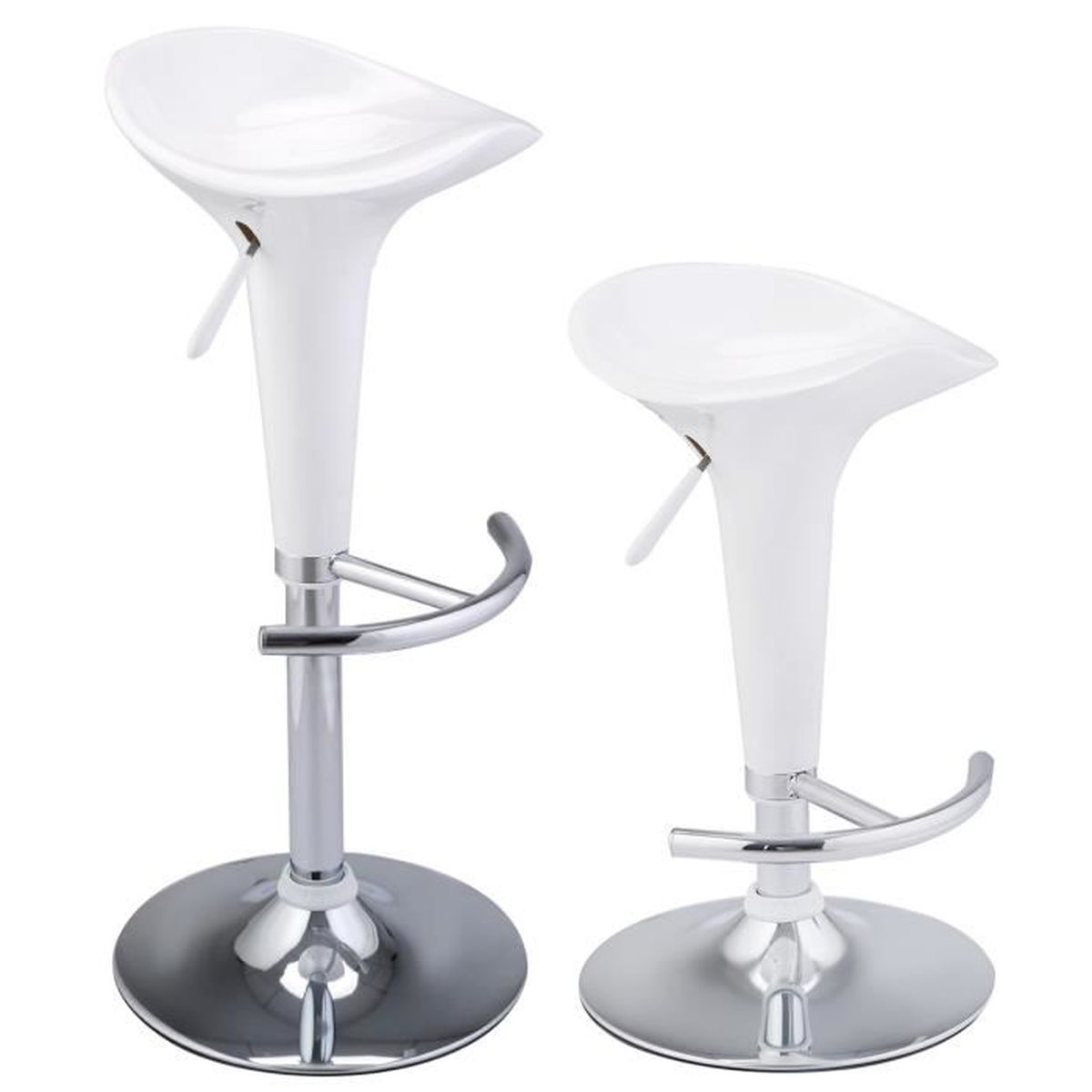 2 x tabouret de bar chaise de cuisine pivotante 360 hauteur r glable blanc achat vente. Black Bedroom Furniture Sets. Home Design Ideas