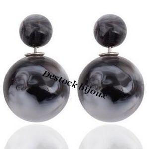 boucle d oreille double perle achat vente pas cher cdiscount. Black Bedroom Furniture Sets. Home Design Ideas