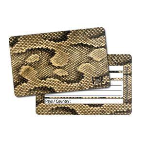 PORTE ADRESSE Etiquette Bagage Jungle Snake Gold