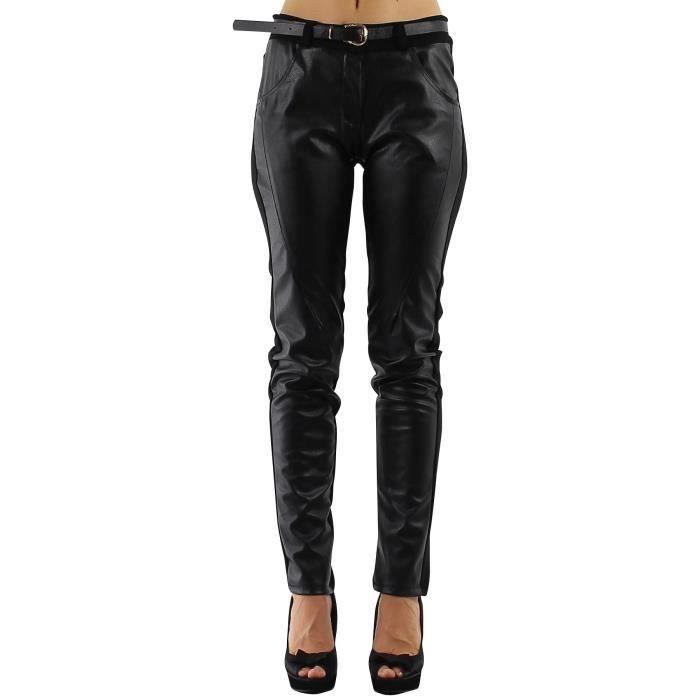Pantalon femme bi mati re simili cuir noir coupe droite t 3 40 noir noir ac - Simili cuir composition ...